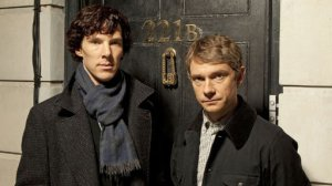 Benedict Cummerbatch and Martin Freeman as Holmes and Watson.